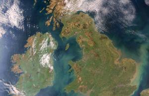 Mapa satelital de Inglaterra en Reino Unido.